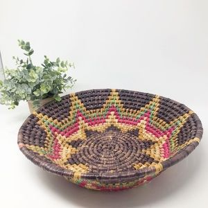 "Boho Colorful Rattan Wicker Woven Basket 14"" Round"